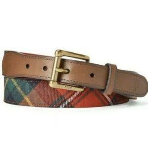 NWT Polo Ralph Lauren Leather-Trim Tartan Belt 34